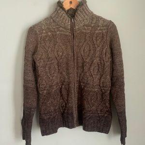 Eddie Bauer Fur Collar CableKnit Sweater